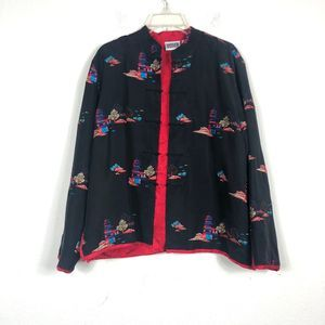 Chico's Vintage 100% Silk Asian Embroidered Jacket